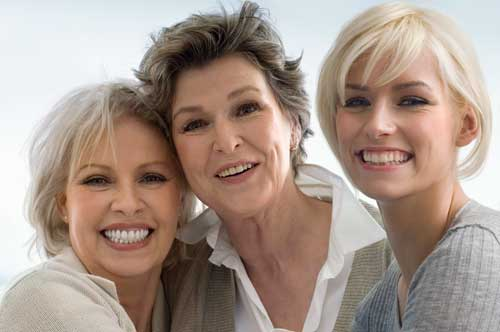 a grandmother, mother, and daughter